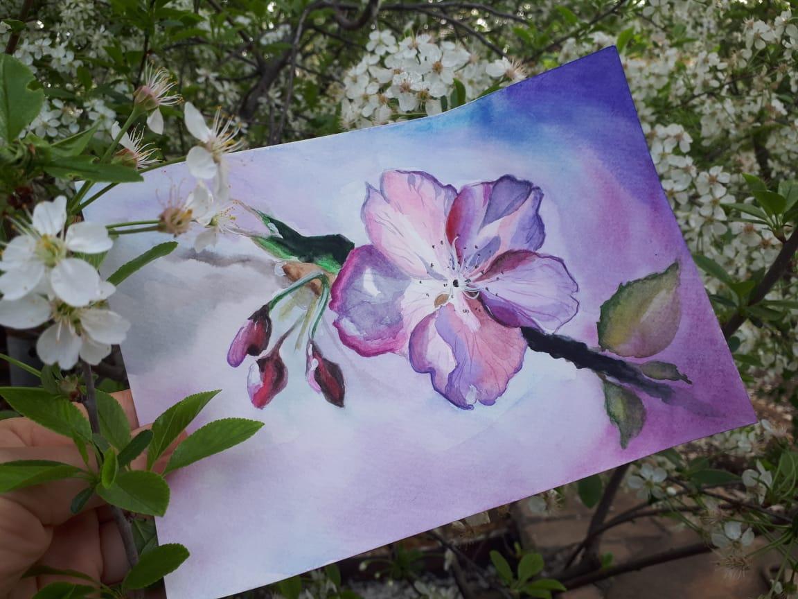 Видеозапись мастер-класса «Цветение яблони»