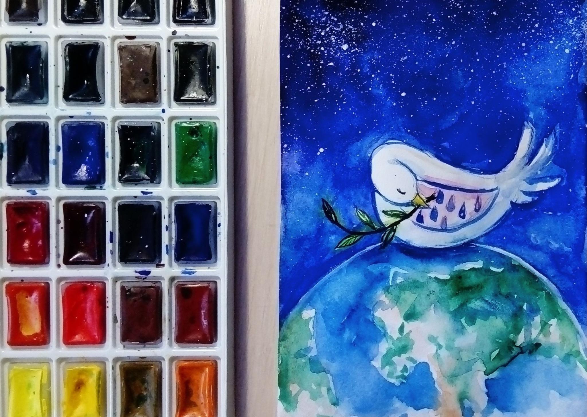 Видеозапись мастер-класса по рисованию «Голубь мира»